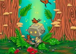 robot in the woods