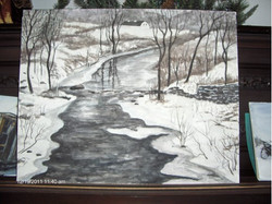Great Barrington Winter Scene  18x24  Watercolor