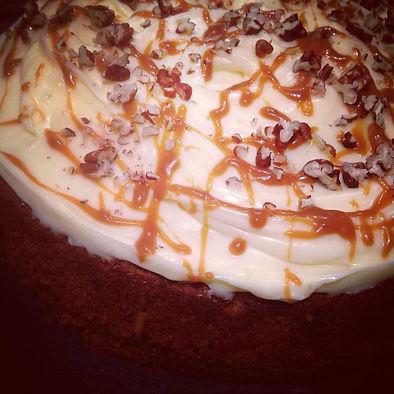 Banana cake with a rich butterscotch and walnut buttercream