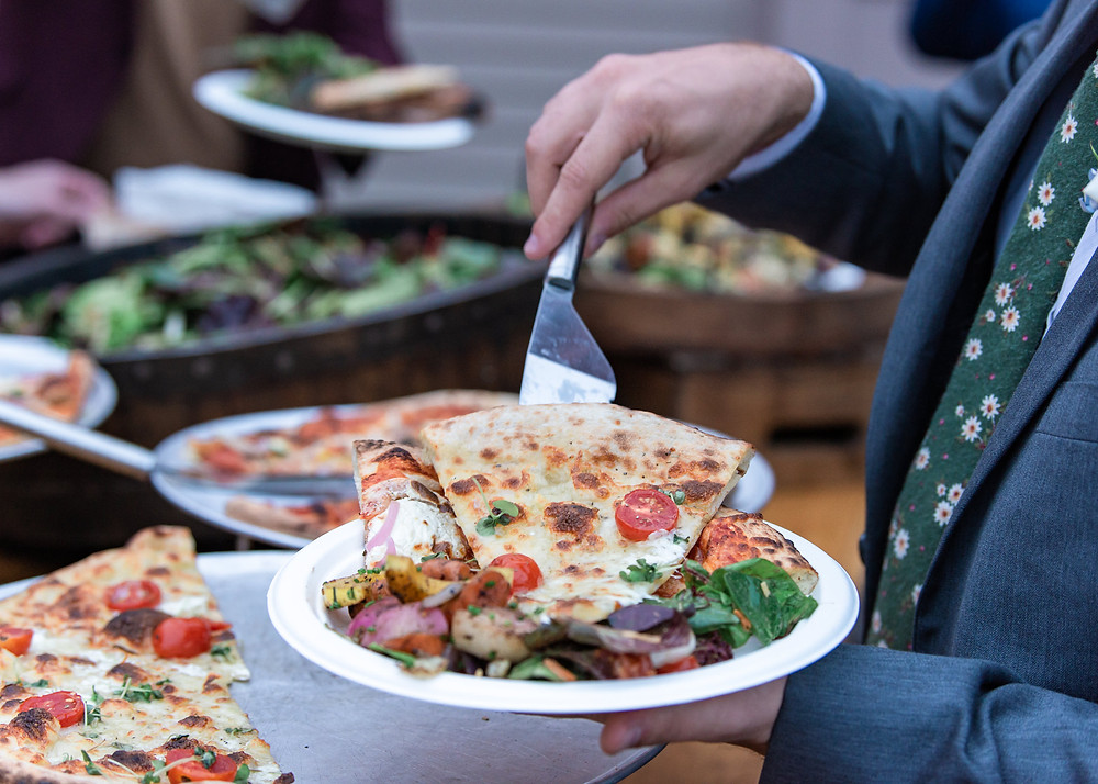 Pizza at Maine wedding reception