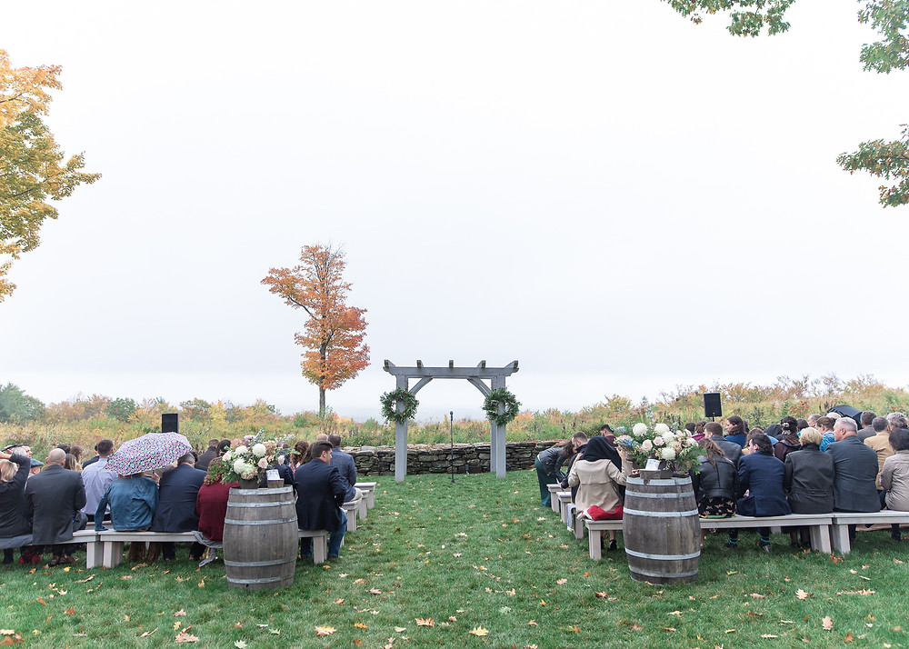 Fall wedding ceremony at Beech Hill Barn