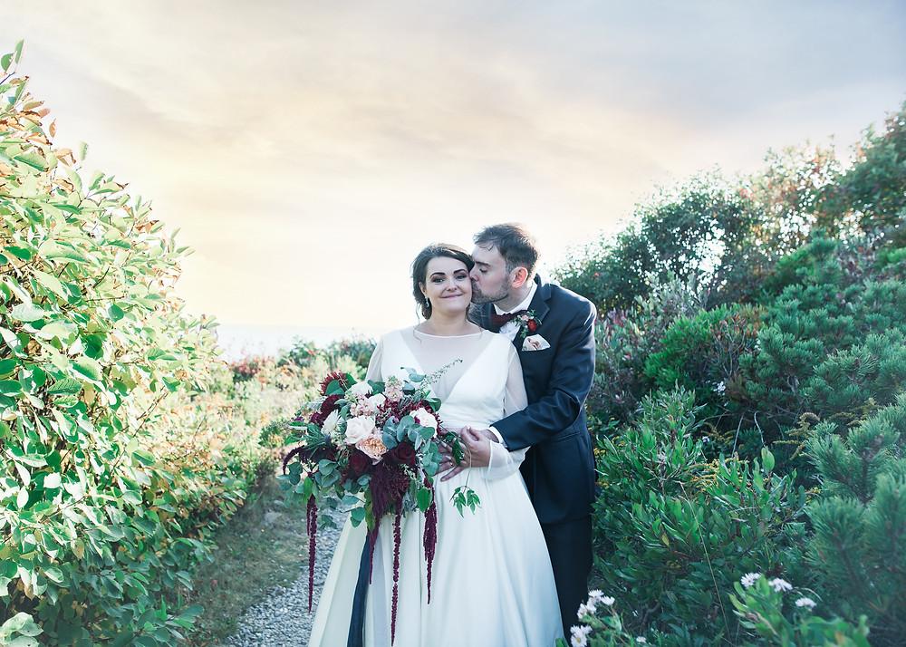 Wedding couple portraits on Bailey Island Maine