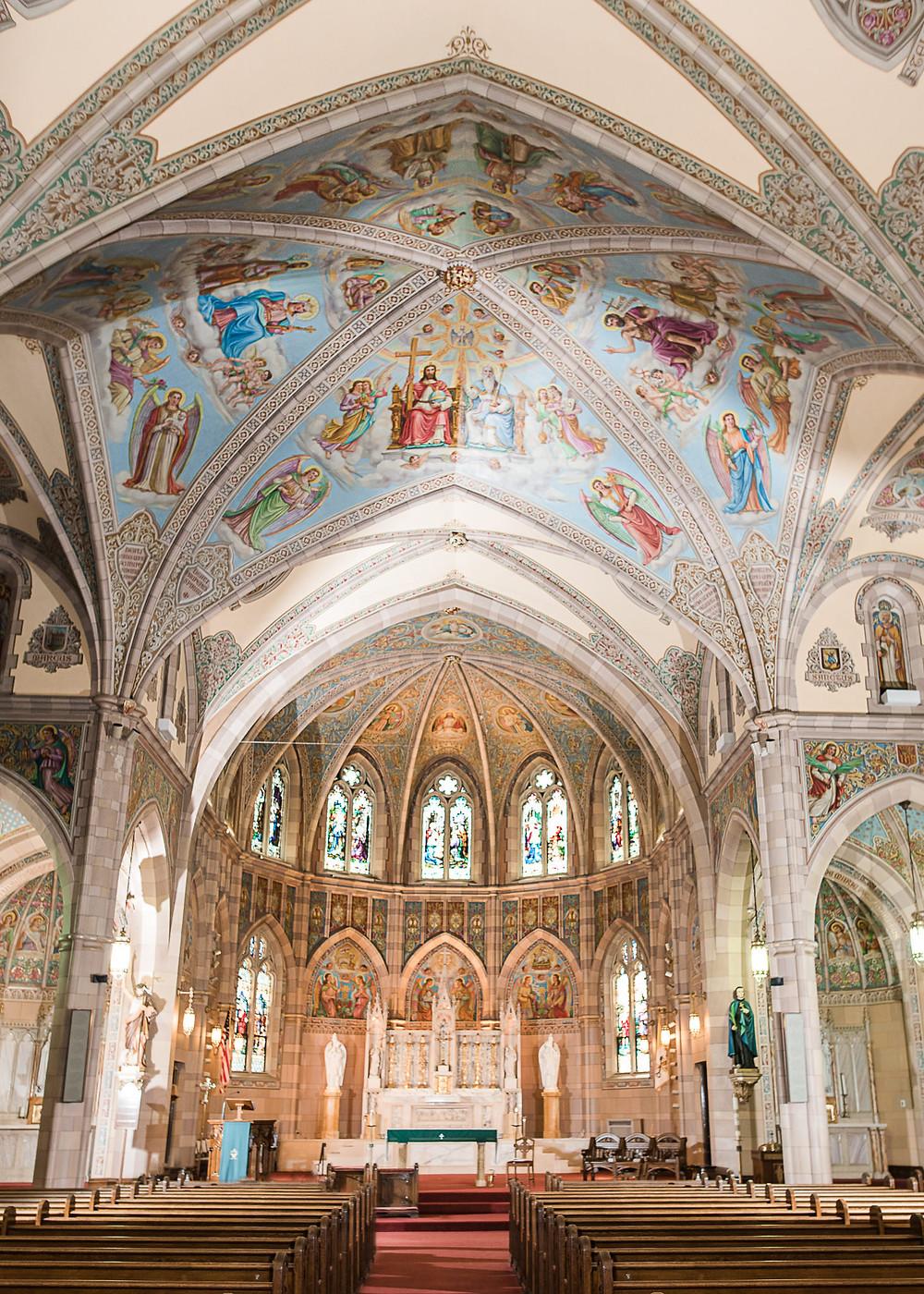 Inside of St. John the Baptist Church during Brunswick, Maine wedding
