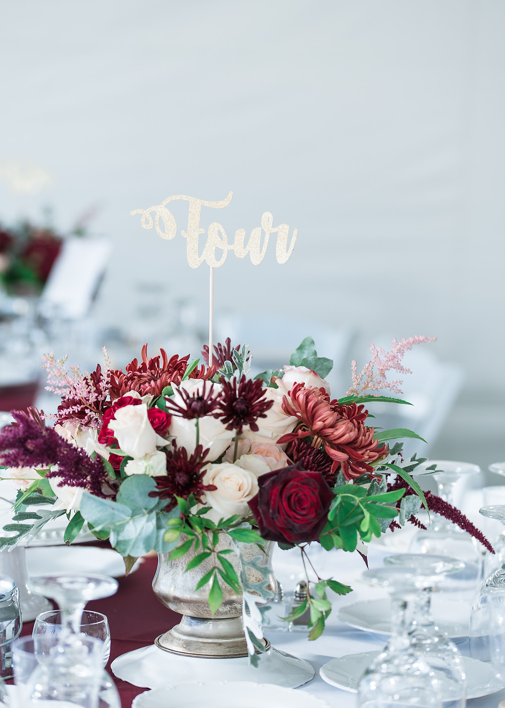 Fall colored floral bouquet at Bailey Island Library Hall Wedding