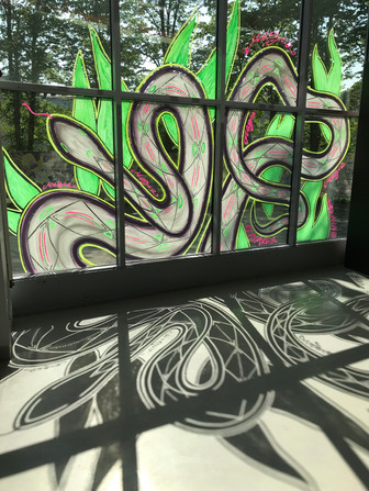 Window painting for Sideways -festival 2019. Helsinki, Finland, 2019.