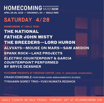 Homecoming Daily Lineups and The National Performance Announcement