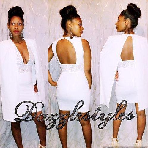 White studded dress and Cape set