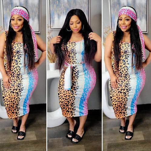 Multi-colored Cheetah Print Dress