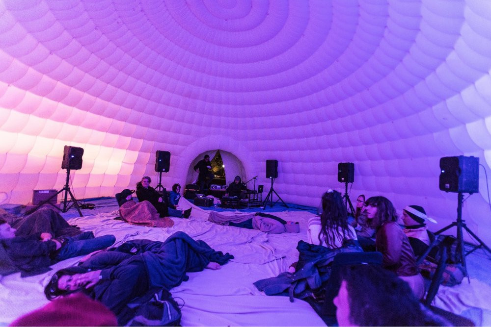 Tom Montagliano spatial sound artist - quiet sound inflatable igloo experience - art sound design sound branding audio engineering music - sound identity blog