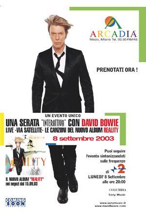 Locandina David Bowie concerto Reality broadcast worldwide cinema arcadia milano 2003 - sound identity blog music news