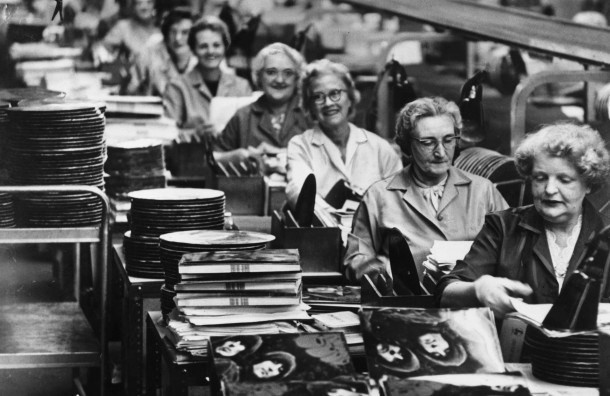 Women package the Beatles' Rubber Soul, 1965 (Image via Sonicbids http://blog.sonicbids.com)