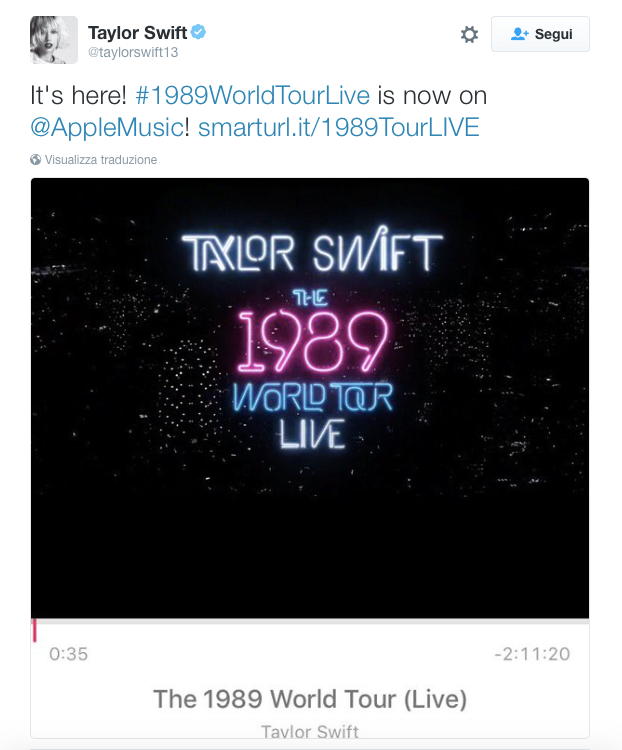 Taylor Swift Tweet 1989 World Tour Live - blog sound identity