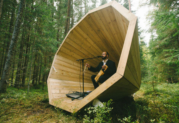 hige wood Megaphones Estonian students Forest Amplify the Sound of Nature - sound design audio -  Sound Identity blog