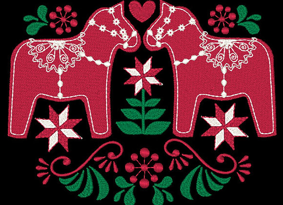 Scandie Christmas 2 Horses Design