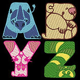 Crazy Zoo Alpha  free embroidery designs