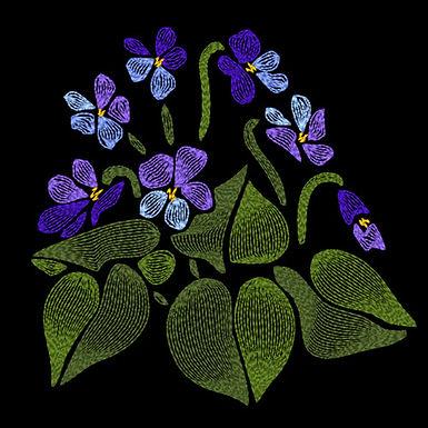 Art Nouveau Flower - Violets