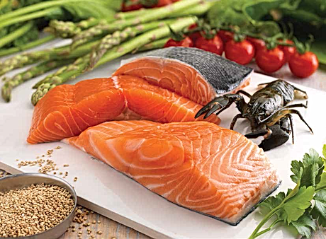 Fresh fish with traditionally sourced farm igredients like asparagus, tomatoes and herbs Addiscotts grain free