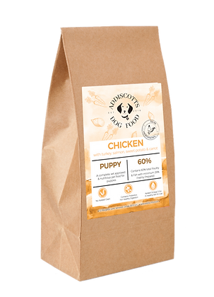 Puppy Chicken, Carrots & Peas (added Turkey & Salmon) blended with Sweet Potato