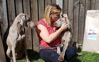 Claire Addiscott and her dogs Delta and Kona