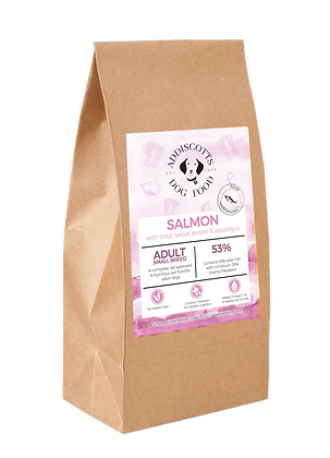 Small Breed Salmon with Trout and Asparagus blended with Sweet potato