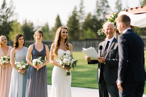 Wedding ceremony at John Gray Amphitheater and reception in Benham Hall at SHARC in Sunriver, OR.