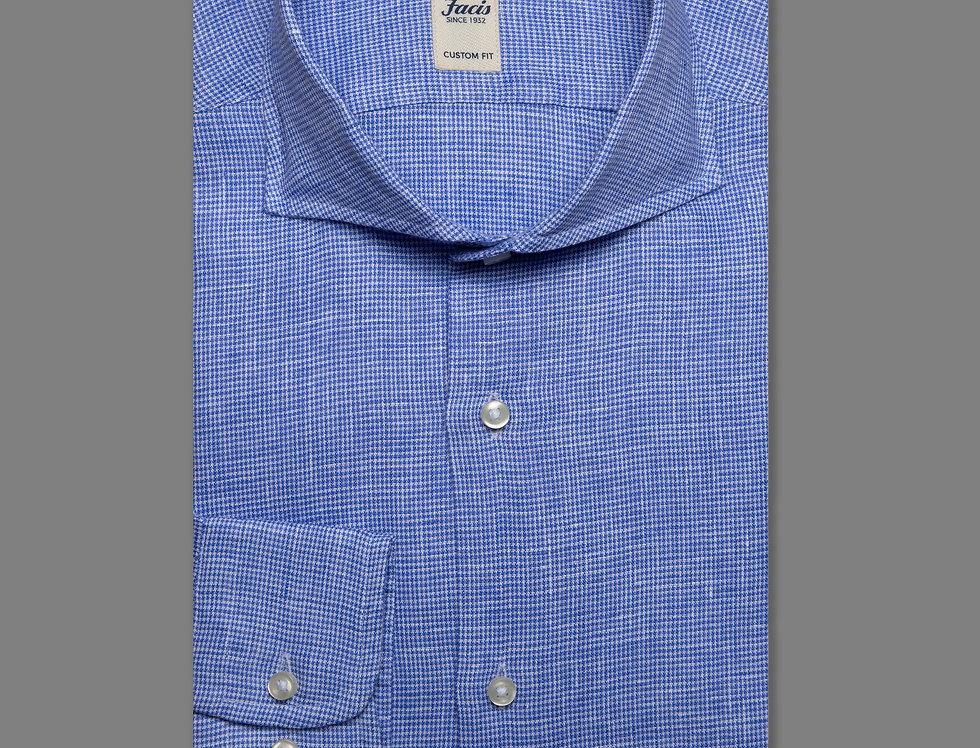 Camicia lino micro pied de poule Blu