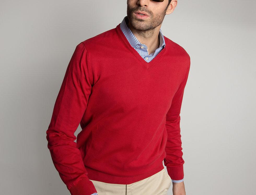 Pullover  100% cotone scollo a V Rosso