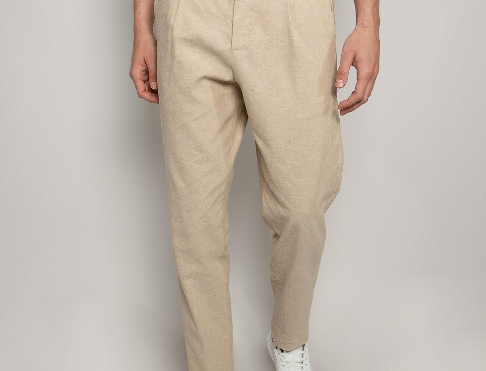 Pantalone Jogging misto Lino Sabbia