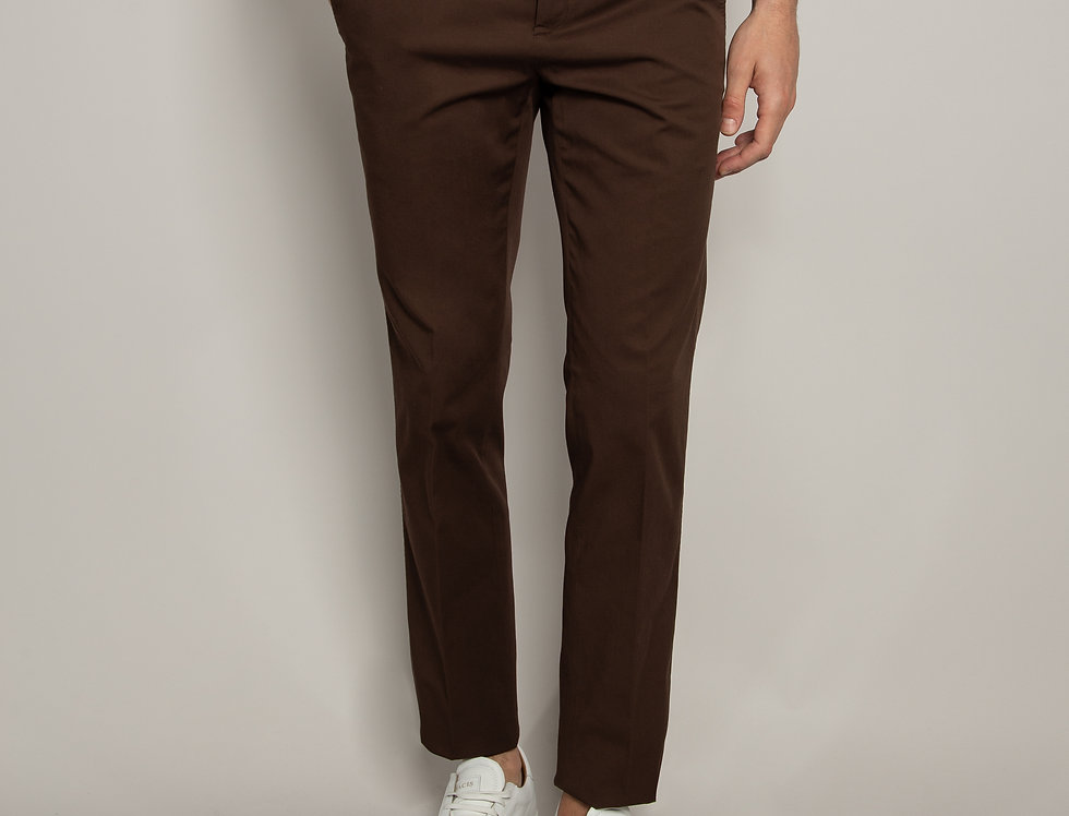 Pantalone Chino Cotone Marrone scuro