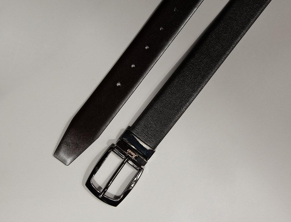 Cintura double face saffiano nero/moro made in Italy
