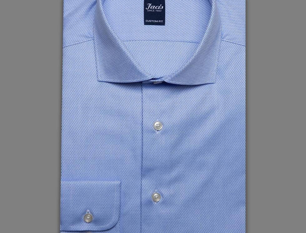 Camicia jacquard puro cotone celeste