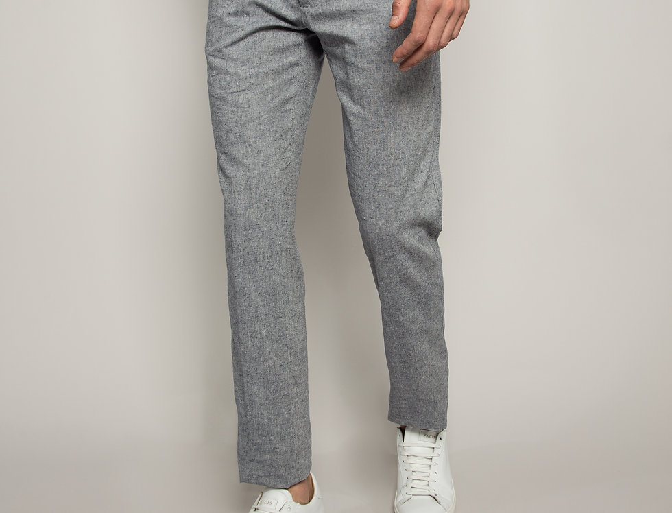 Pantalone Chino misto Lino Blu