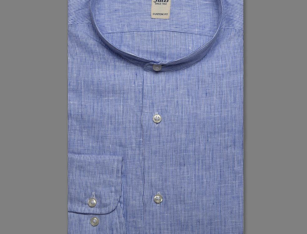 Camicia collo coreana lino righe blu
