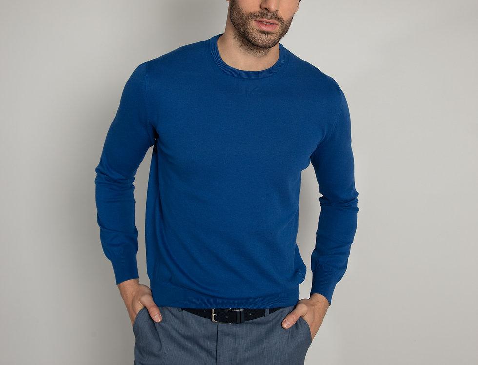 Girocollo 100%   cotone Blu Royal