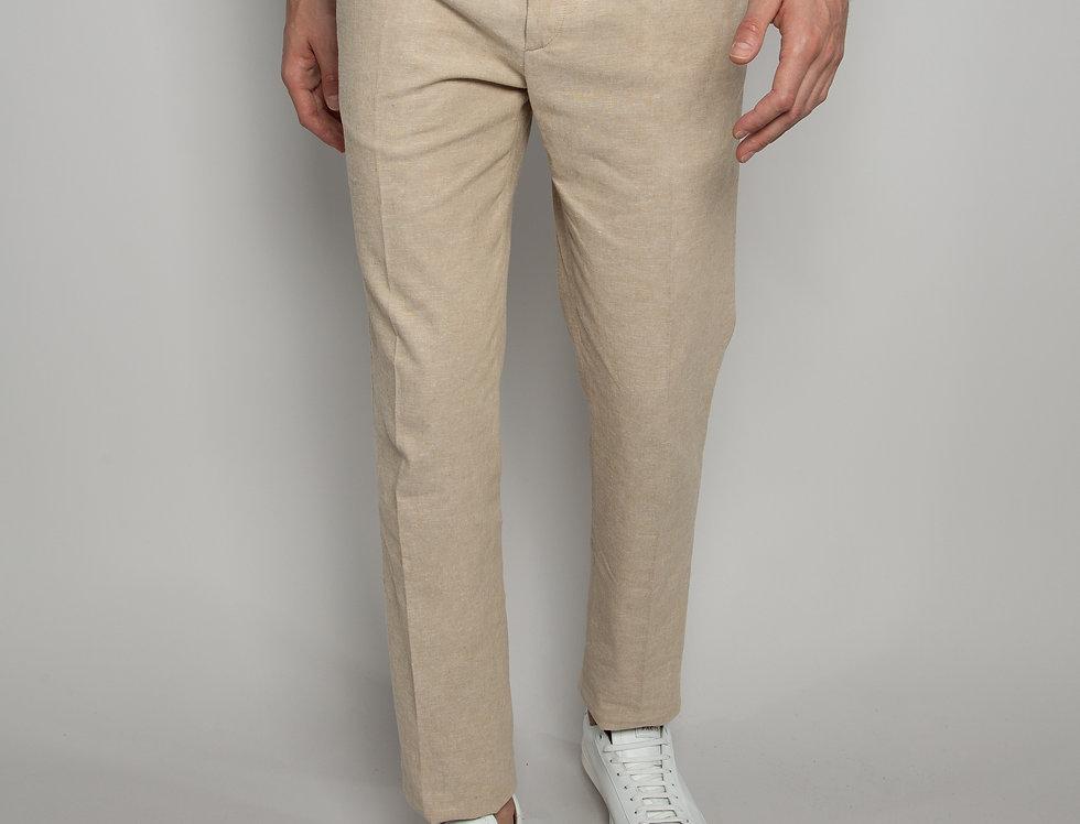 Pantalone Chino misto Lino Sabbia
