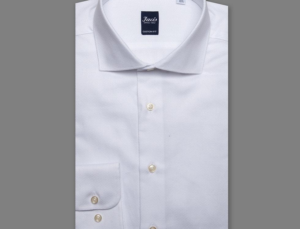 Camicia jacquard puro cotone bianca