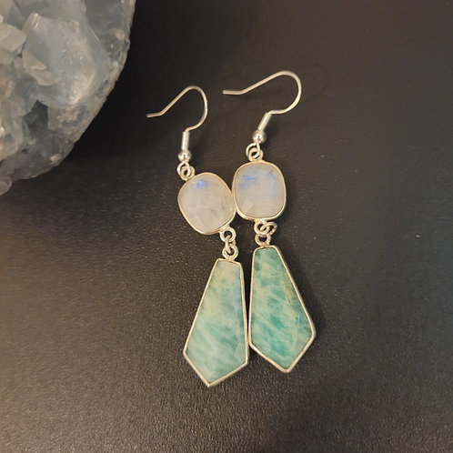 Moonstone and amazonite earrings