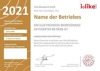 Elektrosmog Bioresonanz Zertifikat