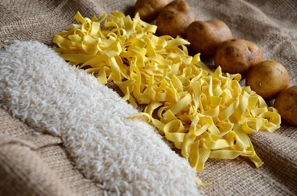 riz pâtes pommes de terre