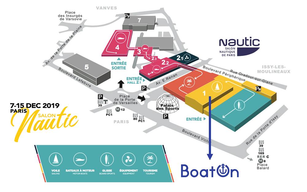 plan du nautic de Paris 2019