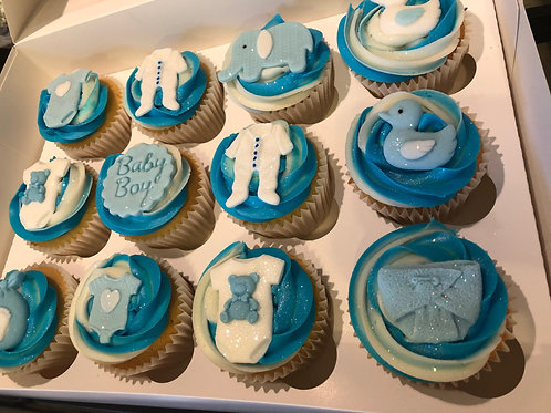 Baby Shower Cupcakes - Pink/ Blue or Lemon - Postage Included