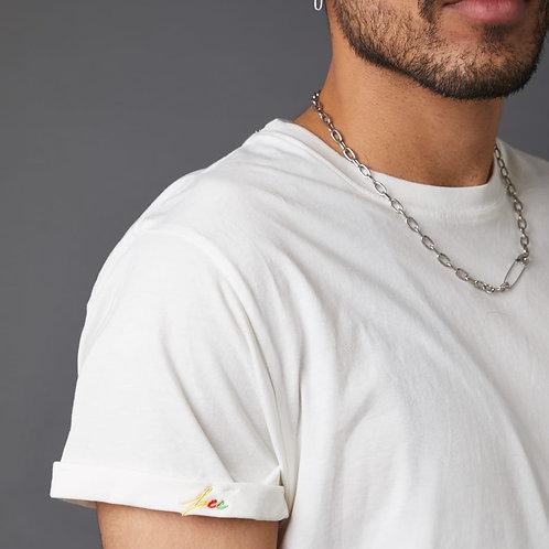 T-Shirt 'free hugs' mit bunten Stickdetails