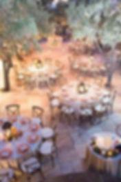 rustic backyard wedding tables