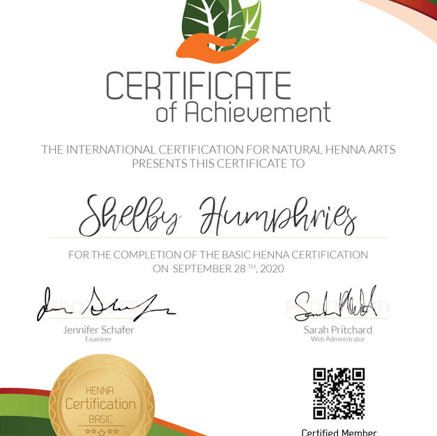 Shelby's certification