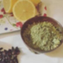 henna powder, fresh leons and cloves