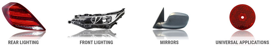 Four ULO product categories; Rear Lighting, Front Lighting, Mirrors, Universal Applications