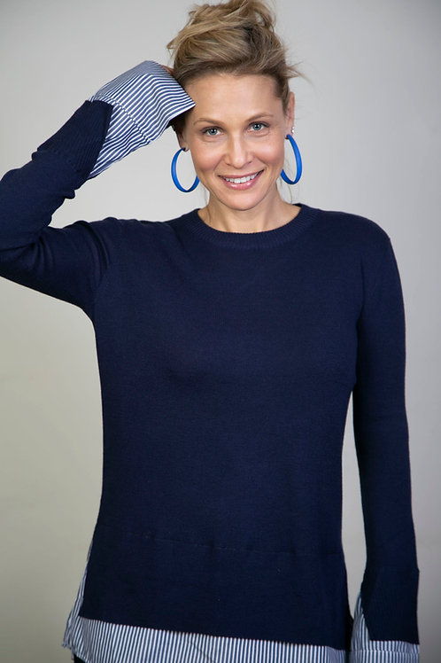 GLEN סריג חולצה כחול
