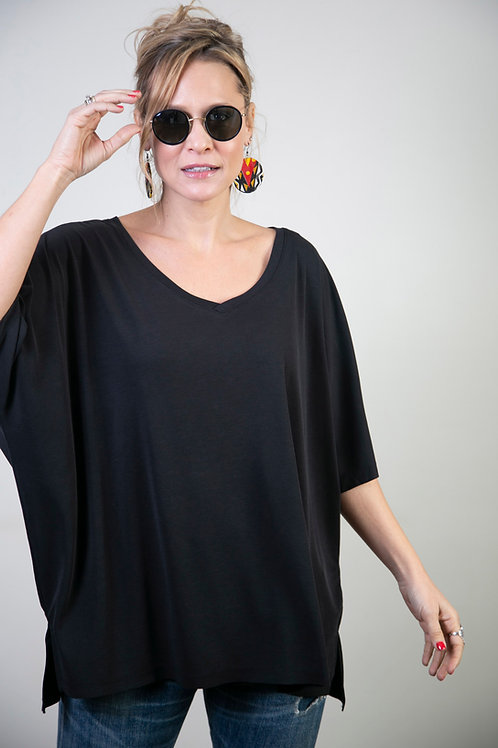 DARE  חולצת אוברסייז שחורה