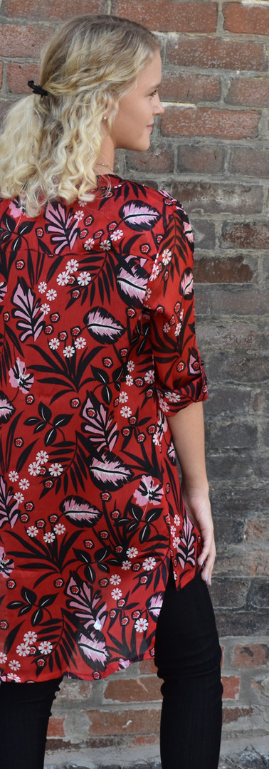 Vandana Red Sheer Floral Button Up Blouse