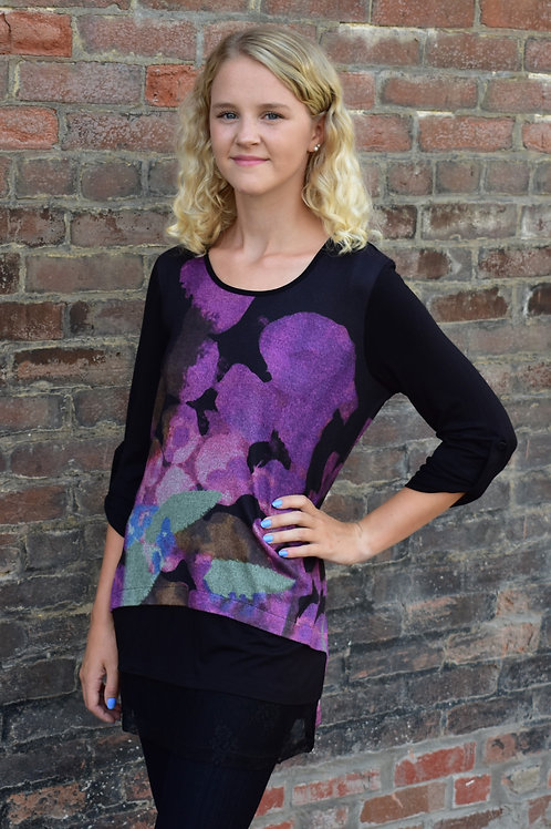 Vandana Purple Floral Paint Long Sleeve